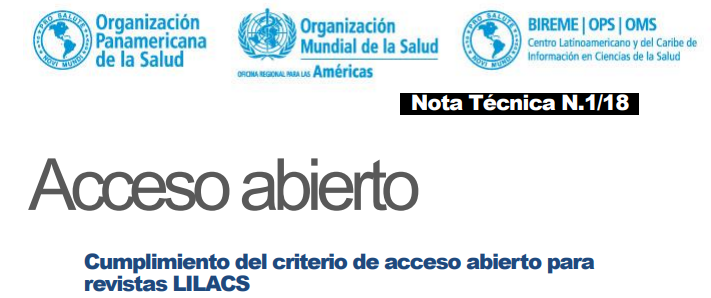 Publication of technical note 01/18 – Open access: compliance with the open access criteria for journals indexed in LILACS