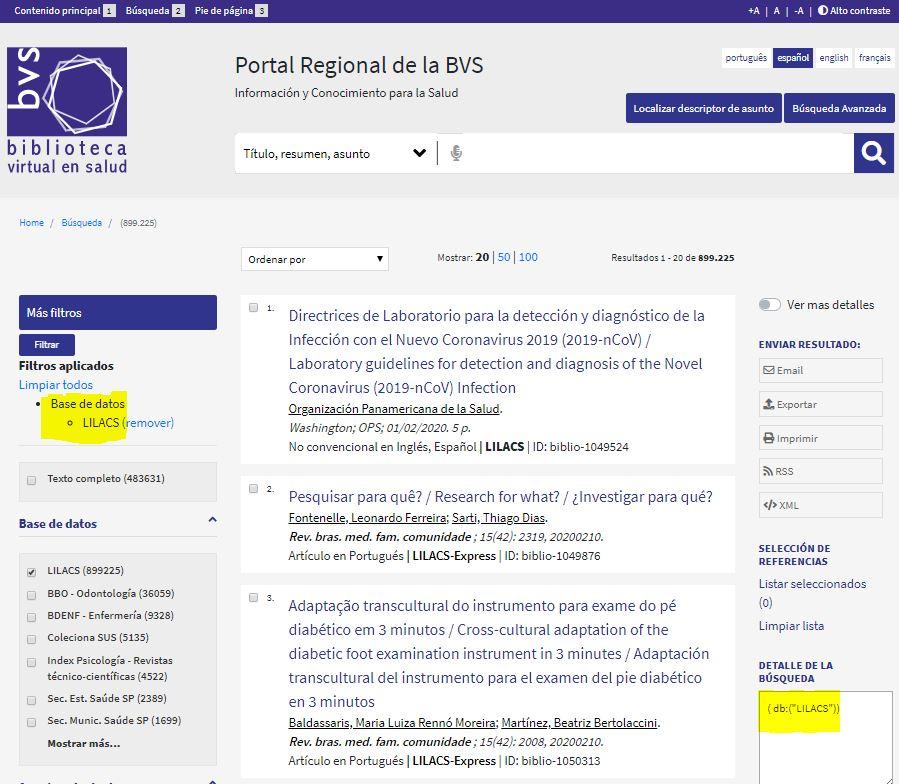 LILACS integrada a la interfaz de búsqueda del portal regional de la BVS