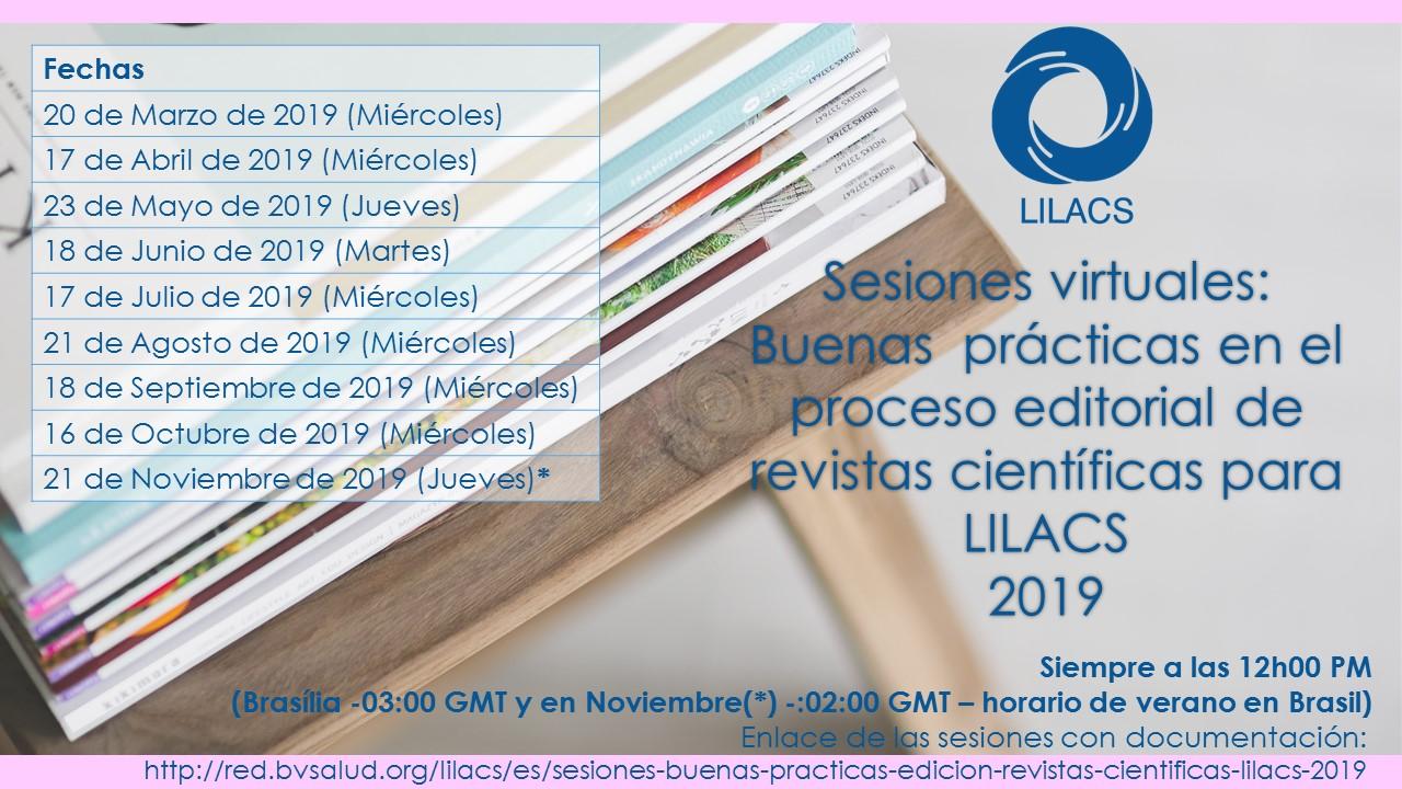 Sesiones virtuales sobre Buenas Prácticas en el Proceso Editorial de Revistas Científicas para LILACS 2019